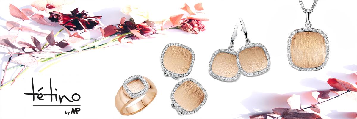 Wiesbrock Uhren Schmuck - Tétino Schmuck hochwertige rhodinierte Sterling Silber Schmuckstücke mit Gold oder Rosé Plattierung